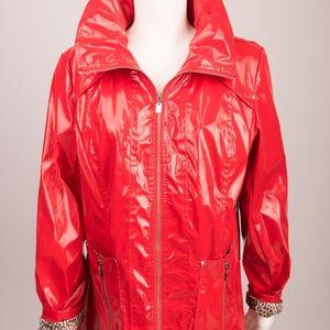 """UBU RED PATENT RAIN JACKET COAT PARKA 28"""" Smock M"""